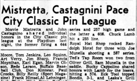 Mistretta, Castagnini Pace City Classic Pin League. December 24, 1947.