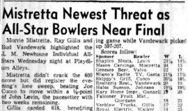 Mistretta Newest Threat as All-Star Bowlers Near Final. April 12, 1956.