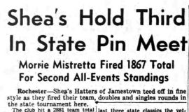 Shea's Hold Third In State Pin Meet. April 22, 1946.