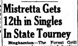 Mistretta Gets 12 in Singles In State Tourney. April 27, 1942.P-J-4-27-42
