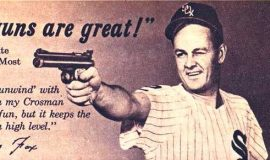 Nellie Fox advertised for Crosman firearms.