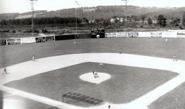 1944 Jamestown Falcons at Municipal Stadium in Jamestown, NY. Nellie Fox is playing center field.