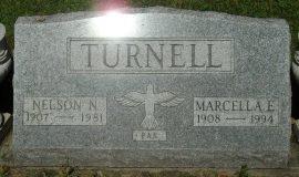 Nelson Turnell's grave marker.