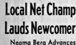 Local Net Champ Lauds Newcomer.  8-18-61