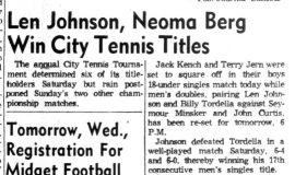 Len Johnson, Neoma Berg Win City Tennis Titles.  P-J-8-22-60