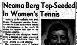 Neoma Berg Top-Seeded In Women's Tennis.  9-2-60