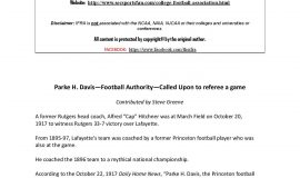 Parke  H . Davis - Football  Authority -  Called  Upon  to referee  a game. Page 1. October 2016.