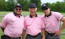Baseball umpires crew, Fred Stern, Paul Cooley, and J.J. Bilinski.