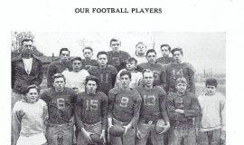 Mayville football 1947, Phil Young in back row, white jersey.