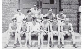 Mayville track 1950, Phil Young front row, left.