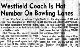 Westfield Coach Is Hot Number On Bowling Lanes. January 16, 1962.