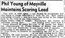 Phil Young of Mayville Maintains Scoring Lead. January 17, 1951.