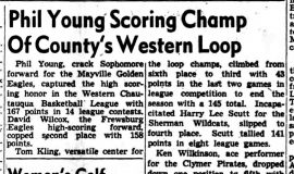Phil Young Scoring Champ Of County's Western Loop. March 8, 1949.
