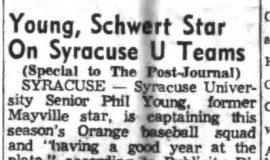 Young, Schwert Star On Syracuse U Teams. May 16, 1955. P-J-5-16-55
