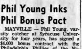Phil Young Inks Phil Bonus Pact. September 20, 1955.