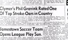 Clymer's Phil Gravink Rate One Of Top Stroke-Oars in Country. April 14, 1956.
