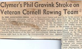 Clymer's Phil Gravink Stroke on Veteran Cornell Rowing Team. May 3, 1957.
