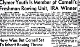 Clymer Youth Is Member of Cornell's Freshman Rowing Unit, IRA Winner. June 21, 1954.