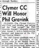 Clymer CC Will Honor Phil Gravink. July 26, 1957.