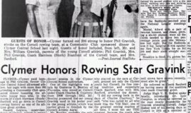 Clymer Honors Rowing Star Gravink. August 2, 1957.