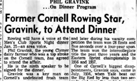 Former Cornell Rowing Star, Gravink, to Attend Dinner. January 4, 1958.
