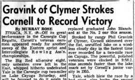 Gravink of Clymer Strokes Cornell to Record Victory. May 13, 1957.