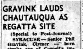 Gravink Lauds Chautauqua As Regatta Site. June 21, 1957.