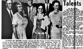 Clymer Honors Rowing Star Gravink. August 2, 1957.