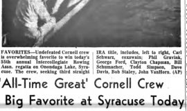 'All-Time Great' Cornell Crew Big Favorite at Syracuse Today. June 22, 1957.