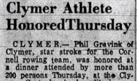 Clymer Athlete Honored Thursday.  August 5, 1957