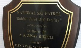 Plaque from Riddell First Aid Facility at Peek 'n Peak Resort.