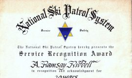 National Ski Patrol System award, 1983.