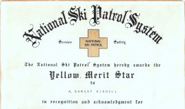 National Ski Patrol System award, 1982.