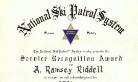 National Ski Patrol System award, 1989.