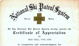 National Ski Patrol System award, 1981.