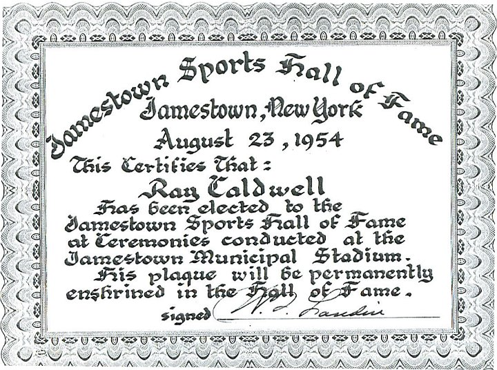 Ray Caldwell - Chautauqua Sports Hall of Fame
