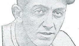 Drawing of Caldwell when he played AA in Kansas City, 1922-24