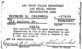 Las Vegas police registration card from 1958 when Ray Caldwell was working at a casino.