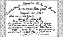 Certificate Ray Caldwell received when he was inducted into the defunct Jamestown Sports Hall of Fame in 1954.