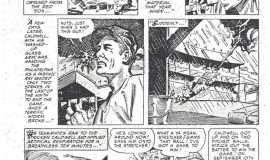 Comic strip version of Ray Caldwell being struck by lightning.