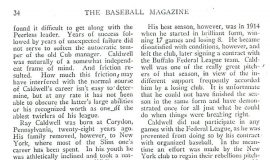 Ray Caldwell, the Hard Luck Pitcher. Page 2, September, 1916.