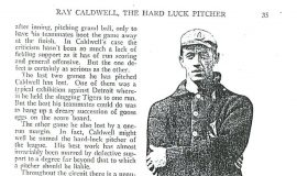 Ray Caldwell, the Hard Luck Pitcher. Page 3, September, 1916.