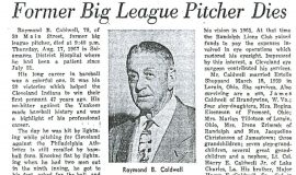 Ray Caldwell obituary, 1967.