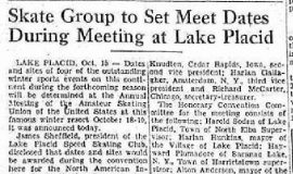 Skate Group to Set Meet Dates During Meeting at Lake Placid. October 16, 1952.