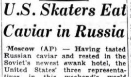 U.S. Skaters Eat Caviar in Russia. February 15, 1955.