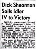 Dick Shearman Sails Idler IV to Victory. June 30, 1944.