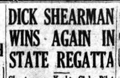 Dick Shearman Wins Again In State Regatta. August 12, 1939.