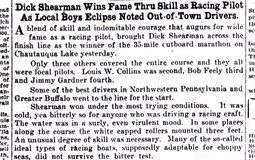 Dick Shearman Wins Fame Thru Skill As Racing Pilot As Local Boys Eclipse Noted Out-of-Town Drivers. May 31, 1930.