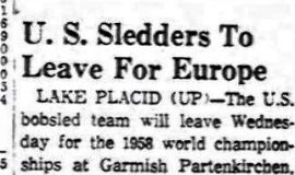 U.S. Sledders To Leave For Europe. January 13, 1958.