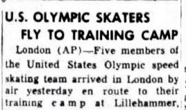 U.S. Olympic Skaters Fly To Training Camp. January 3, 1952.